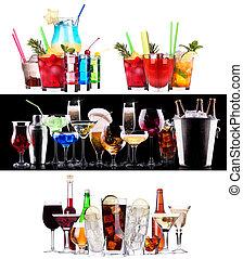 alcohólico, diferente, bebidas, conjunto, cócteles