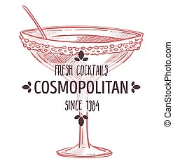alcohólico, etiqueta, cosmopolita, fresco, bebida, vidrio, ...