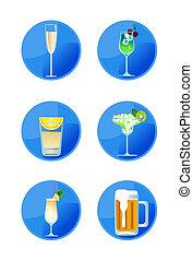 alcohólico, iconos, bebida