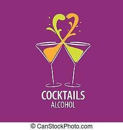 alcohólico, logotipo, cócteles