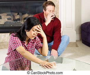 alcohólico, mujer, debido, maduro, deprimido, marido