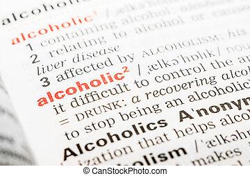 alcohólico, palabra, definición