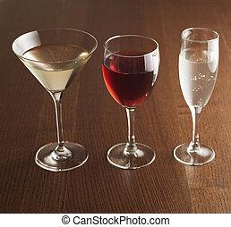 alcohólico, tres, bebidas