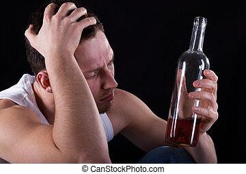 alcohólico, vino que bebe