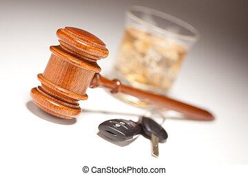 alcohólico, y, llaves, coche, bebida, martillo