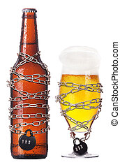 alcohol abuse concept - beer locked on a chain - alcohol ...