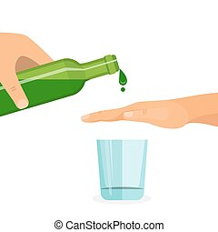 Alcohol abuse concept. Hand prevents filling the glass with...