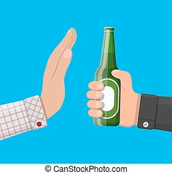 Alcohol abuse concept. Hand gives bottle of beer to other...