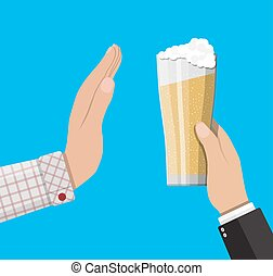 Alcohol abuse concept. Hand gives glass of beer to other...