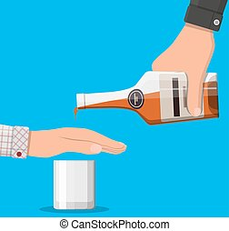 Alcohol abuse concept. Hand gives bottle of whiskey to other...