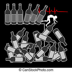 Alcohol abuse kills - Concept sign and warning that...