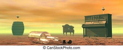 Alcohol abuse scene - Empty bottle of wine lying on the...