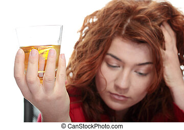 Alcohol addiction - Alone young woman in depression,...