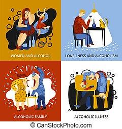 Alcohol Addiction Concept Icons Set