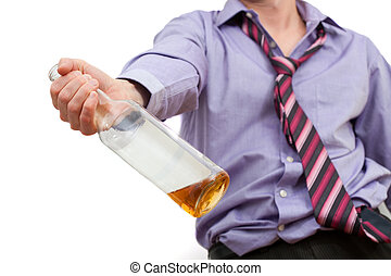 Alcohol addiction - Drunk man is suit addicted to alcohol