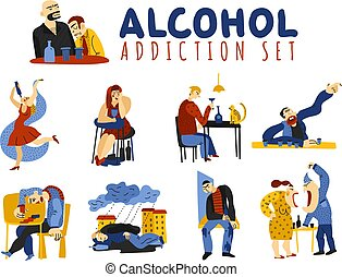 Alcohol Addiction Icons Set