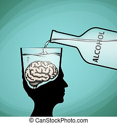 Alcohol addiction. Violation of brain functions. Stock vector illustration.