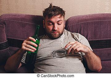 alcohol, adicto, hombre, humo, cigarrillo