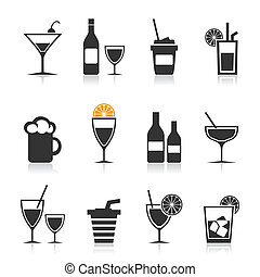 Alcohol an icon - Set of icons alcohol. A vector ...