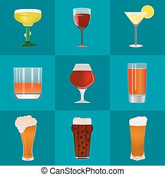 Alcohol and beer vector icons set
