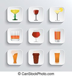 Alcohol and beer  web  icons set
