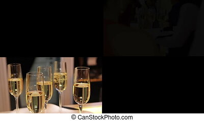 alcohol and dishes in restaurant multiscreen