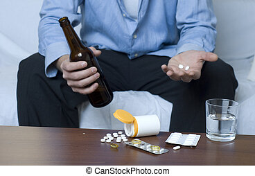 Businessman doing mixed use of drugs and alcohol.