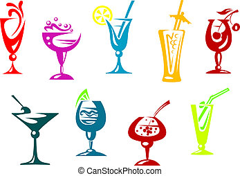 Alcohol and juice cocktails set for beverages design