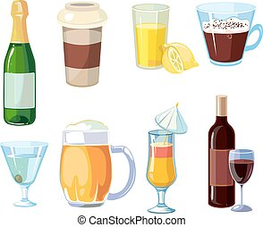 Alcohol and non alcoholic drinks with bottles, glasses vector