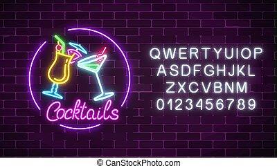 alcohol., barra, alfabeto, neón, dos, señal, cócteles, ...