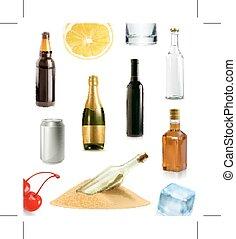 alcohol, bebida, en, botella, vector, iconos, conjunto