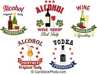 alcohol, bebidas, barra de cóctel, emblemas, conjunto