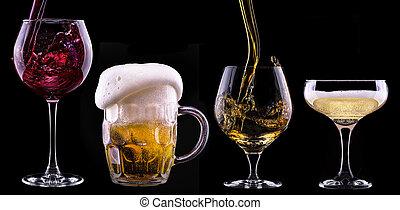 alcohol, bebidas, conjunto, aislado, en, un, negro