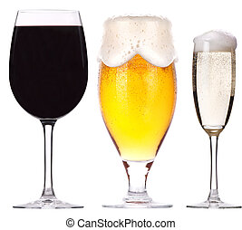 alcohol, bebidas, conjunto, aislado