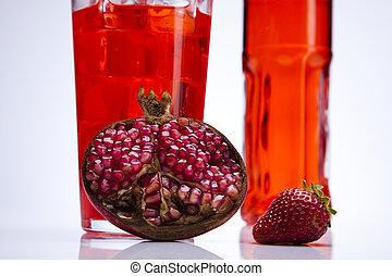 alcohol, bebidas, conjunto, con, fruits