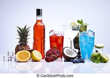 alcohol, bebidas, conjunto