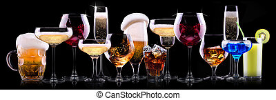 alcohol, bebidas, diferente, conjunto
