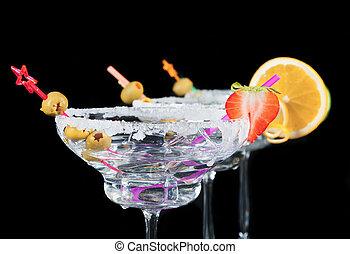 alcohol, bebidas, en, fondo negro