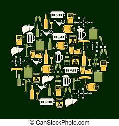 alcohol, bebidas, iconos, conjunto, en, color, círculo, eps10