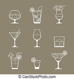 alcohol, bebidas, y, cócteles, icono, conjunto, en, plano, diseño, style.