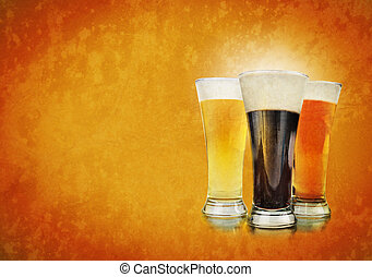 Alcohol Beer Glasses on Texture Background - Three beer...
