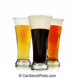 Alcohol Beer Glasses on White - A variety of different color...
