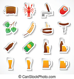 Alcohol beer party stickers set