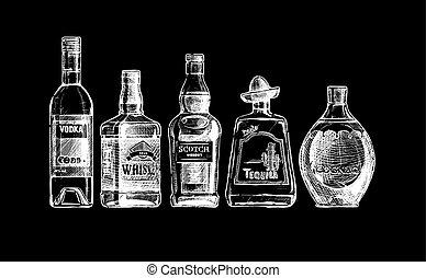 alcohol., bevanda, bottiglie, distillato