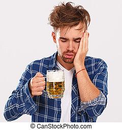 alcohol., blauwe , bier, kerel, hemd