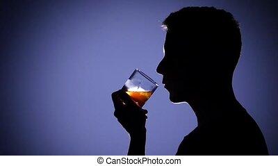 alcohol., blue., déprimé, haut fin, boire, homme