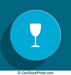 alcohol blue flat web icon