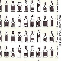 alcohol, bottels, seamless, patten, -, bebida alcohólica, plano de fondo