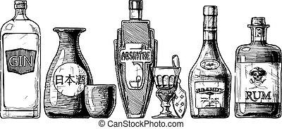 alcohol., bottiglie, beverage., distillato