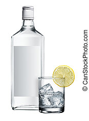 Alcohol bottle - blank label vodka with glass and lemon